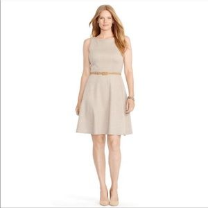 Ralph Lauren Chevron Belted Career Tan Dress